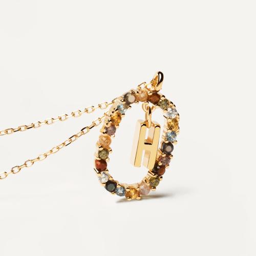 Ασημένιο επιχρυσωμένο κολιέ-H-κοσμήματα Μαμόγλου