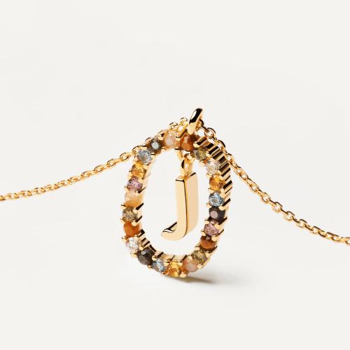 Ασημένιο επιχρυσωμένο κολιέ-J-κοσμήματα Μαμόγλου