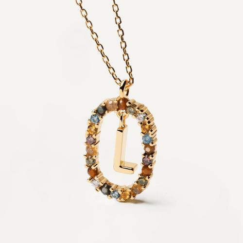 Ασημένιο επιχρυσωμένο κολιέ-L-κοσμήματα Μαμόγλου