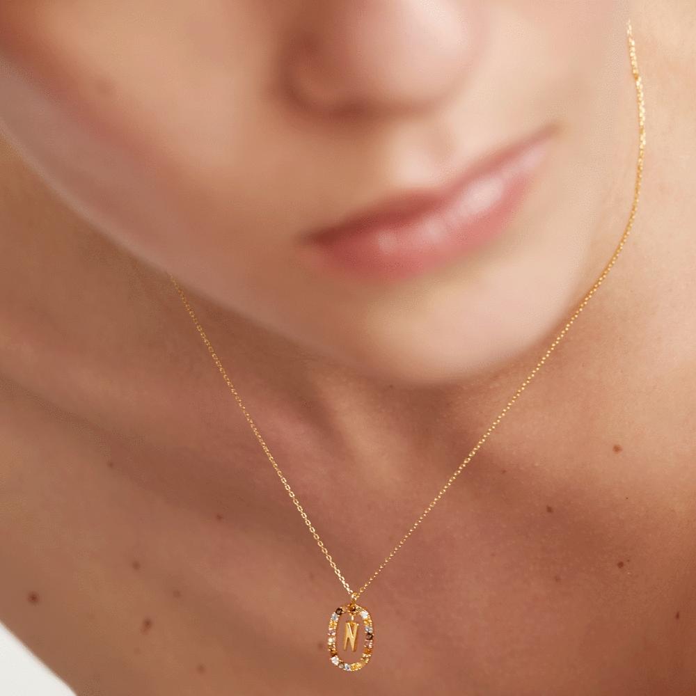 Ασημένιο επιχρυσωμένο κολιέ-Nn-κοσμήματα Μαμόγλου