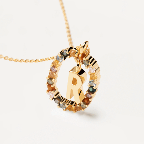 Ασημένιο επιχρυσωμένο κολιέ-R-κοσμήματα Μαμόγλου
