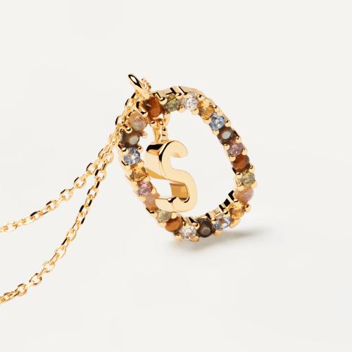 Ασημένιο επιχρυσωμένο κολιέ-S-κοσμήματα Μαμόγλου