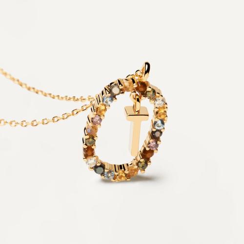 Ασημένιο επιχρυσωμένο κολιέ-T-κοσμήματα Μαμόγλου