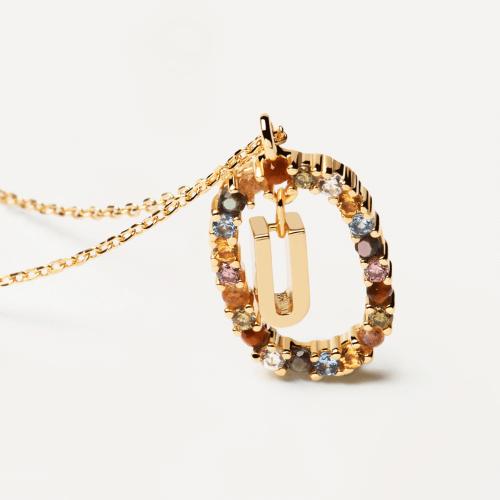 Ασημένιο επιχρυσωμένο κολιέ-U-κοσμήματα Μαμόγλου