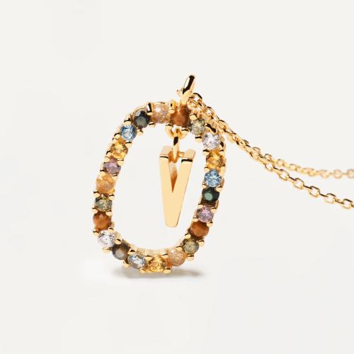 Ασημένιο επιχρυσωμένο κολιέ-V-κοσμήματα Μαμόγλου