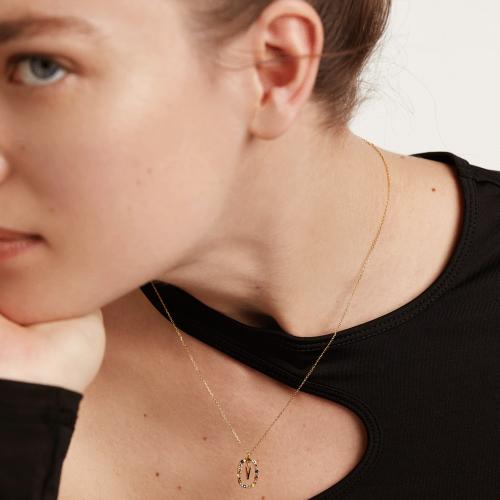 Ασημένιο επιχρυσωμένο κολιέ-Vv-κοσμήματα Μαμόγλου