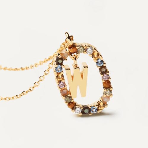 Ασημένιο επιχρυσωμένο κολιέ-W-κοσμήματα Μαμόγλου