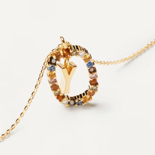 Ασημένιο επιχρυσωμένο κολιέ-Y-κοσμήματα Μαμόγλου