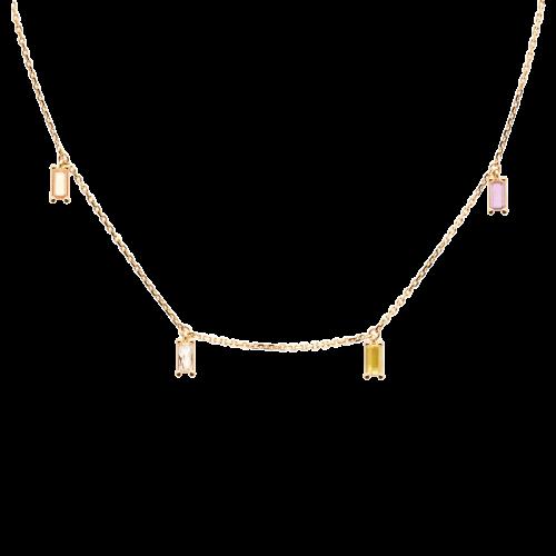 Ασημένιο επιχρυσωμένο κολιέ elija gold-a-κοσμήματα Μαμόγλου