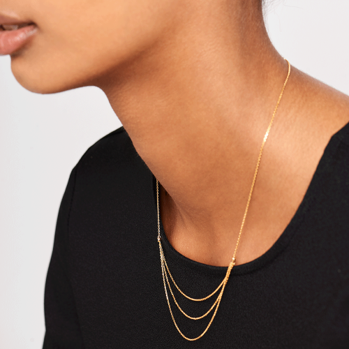 Ασημένιο επιχρυσωμένο κολιέ nia gold-b-κοσμήματα Μαμόγλου