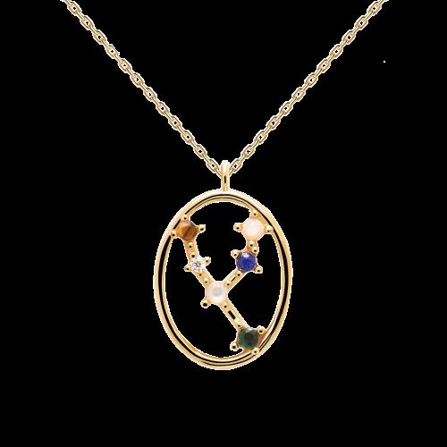 Ζώδιο ταύρος κολιέ ασημένιο επιχρυσωμένο-κοσμήματα Μαμόγλου Αθήνα