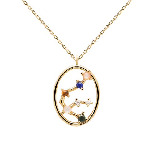 Ζώδιο υδροχόος κολιέ ασημένιο επιχρυσωμένο-κοσμήματα Μαμόγλου Αθήνα