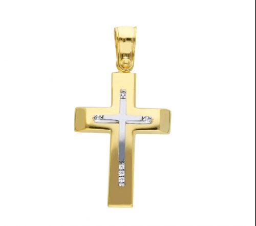 Χρυσός σταυρός Κ14 με ζιργκόν-2-κοσμήματα μαμόγλου αθήνα