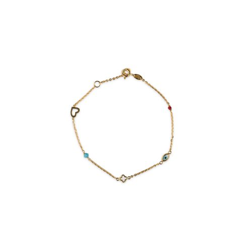 Βραχιόλι χρυσό Κ14 με στοιχεία-780-κοσμήματα μαμόγλου Αθήνα
