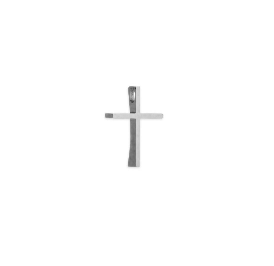 Λευκόχρυσος σταυρός Κ14 με κούρμπα μεγάλος β-κοσμήματα μαμόγλου αθήνα