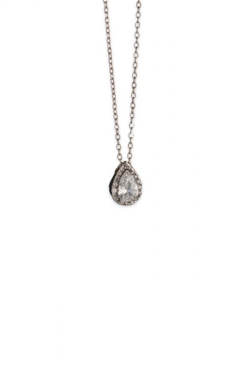 Λευκόχρυσο κολιέ δάκρυ ροζέτα Κ14-501-κοσμήματα μαμόγλου Αθήνα
