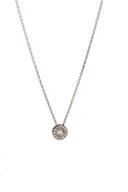 Λευκόχρυσο κολιέ στρογγυλή ροζέτα Κ14-501-κοσμήματα μαμόγλου Αθήνα
