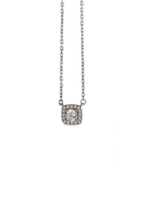 Λευκόχρυσο κολιέ τετράγωνη ροζέτα Κ14-501-κοσμήματα μαμόγλου Αθήνα