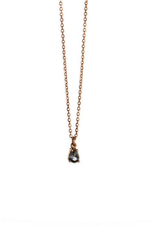 Ροζ χρυσό κολιέ με μπλε ζιργκόν Κ14-5-κοσμήματα μαμόγλου Αθήνα