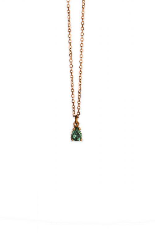 Ροζ χρυσό κολιέ με πράσινο ζιργκόν Κ14-5-κοσμήματα μαμόγλου Αθήνα