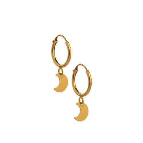 Χρυσά κρικάκια Κ14 με φεγγάρι-5-κοσμήματα μαμόγλου Αθήνα