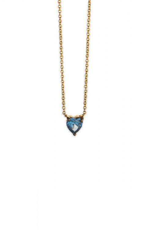 Χρυσό κολιέ καρδιά με μπλε ζιργκόν Κ14-5-κοσμήματα μαμόγλου Αθήνα