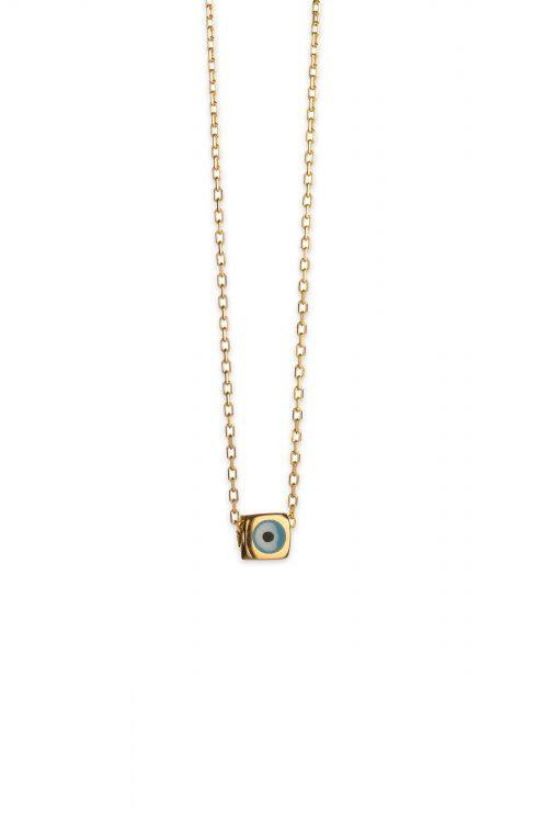 Χρυσό κολιέ ματάκι Κ14-135-κοσμήματα μαμόγλου Αθήνα
