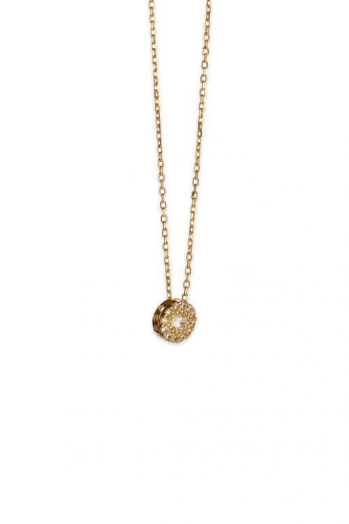 Χρυσό κολιέ στρογγυλή ροζέτα Κ14-501-κοσμήματα μαμόγλου Αθήνα